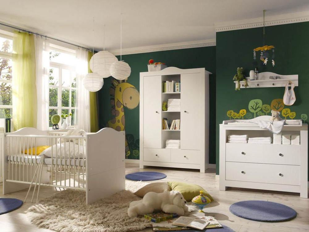babyzimmer komplett luca 1 weiss weiss kinderzimmer babym bel wickeltisch ebay. Black Bedroom Furniture Sets. Home Design Ideas